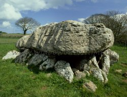 Click to a larger version of Lligwy Burial Chamber, Anglesey (Cadw): photo © Jean Williamson