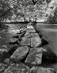 Click to a larger version of Tarr Steps clapper bridge, Exmoor, Somerset: photo  © Mick Sharp